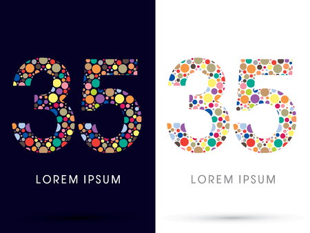 35: 35 ,Colorful font, designed using colorful dot graphic vector.