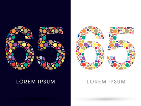 65: 65 ,Colorful font, designed using colorful dot graphic vector.