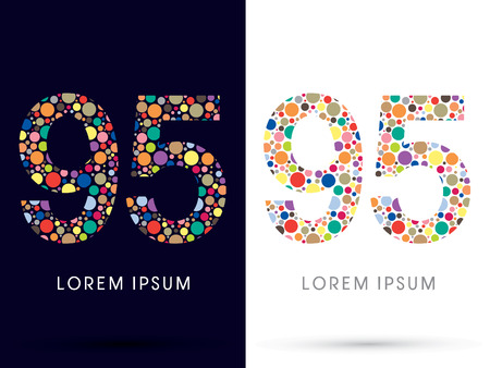 95: 95 ,Colorful font, designed using colorful dot graphic vector. Illustration