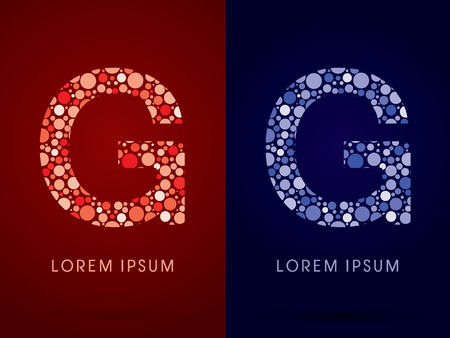 g spot: G ,hot and cool font, designed using red and blue dot graphic vector.