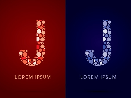 J ,hot and cool font, designed using red and blue dot graphic vector. Illusztráció