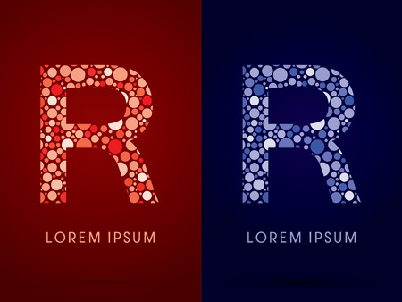 R ,hot and cool font, designed using red and blue dot graphic vector.