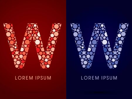 w: W ,hot and cool font, designed using red and blue dot graphic vector.