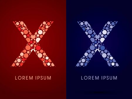 x marks the spot: X ,hot and cool font, designed using red and blue dot graphic vector.