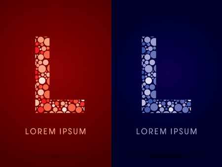 blue bubbles: L ,hot and cool font, designed using red and blue dot graphic vector.