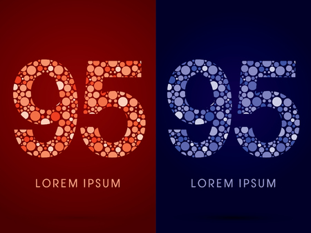 95: 95 ,hot and cool font, designed using red and blue dot graphic vector. Illustration