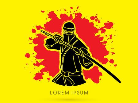 ninja: Ninja and sword on splash blood grunge graphic vector Illustration