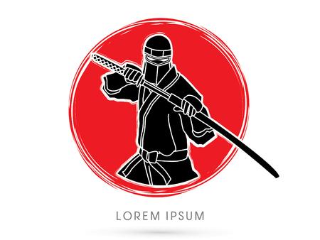 ninja: Ninja and sword on cycle grunge background graphic vector