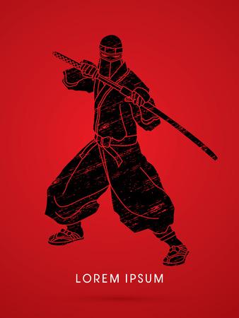 ninja: Ninja and sword on splash grunge graphic vector