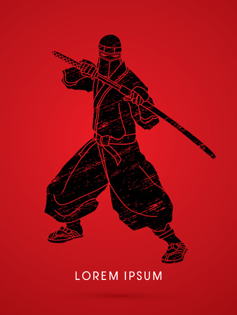 Ninja en zwaard op splash grunge grafische vector