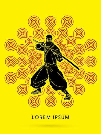 ninja: Ninja and sword on fireworks background graphic vector.