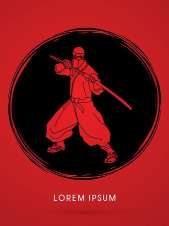 ninja: Ninja and sword on grunge cycle background graphic vector.