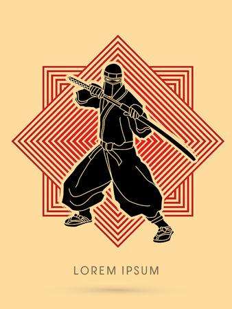 ninja: Black Ninja and sword on line square background graphic vector Illustration