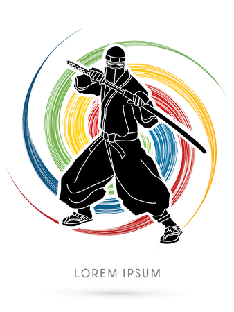 Ninja and sword on colorful spin grunge background graphic vector. Illustration