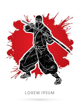 ninja: Ninja and sword on splash grunge background graphic vector.