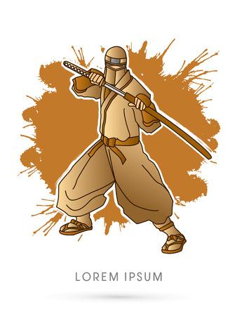 japanese ninja: Gold Ninja and sword on splash grunge background graphic vector. Illustration