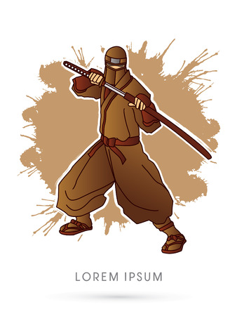 ninja: Brown Ninja and sword on splash grunge background graphic vector.