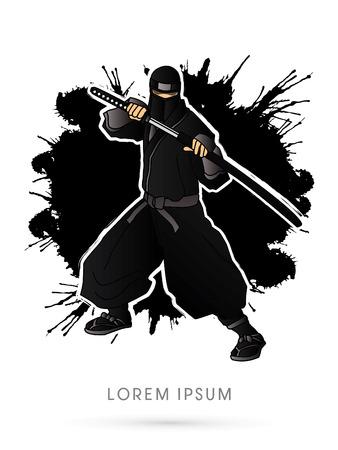 Black Ninja and sword on splash grunge background graphic vector. Illustration