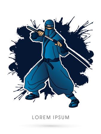 ninja: Blue Ninja and sword on splash grunge background graphic vector. Illustration