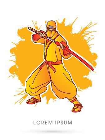 japanese ninja: Yellow Ninja and sword on splash grunge background graphic vector.