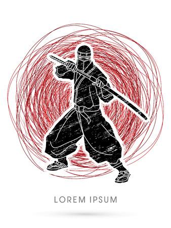 ninja: Ninja and sword standing on confuse line graphic vector