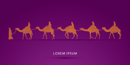 camels: Cameleer with camels designed using geometric square graphic vector