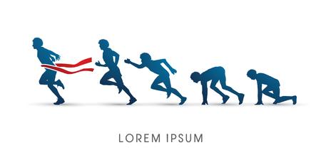 Het proces van het lopen, grafische vector Stock Illustratie