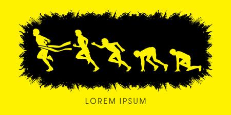 The process of running, designed using splash grunge brush graphic vector