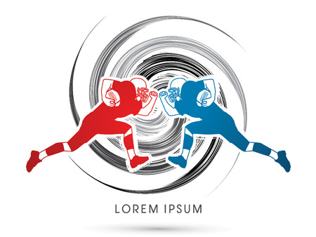 ready logos: American football player running to attack, designed using red and blue colors on grunge spin background graphic vector