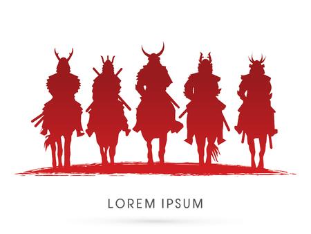 Silhouette, Samurai Warrior riding horse, graphic vector. Stock Illustratie