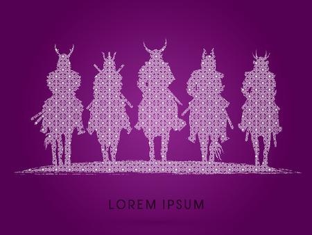 samurai warrior: Silhouette, Samurai Warrior riding horse, designed using geometric pattern graphic vector.