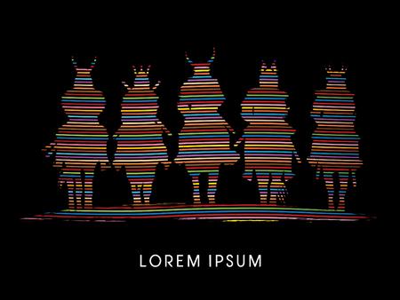 guerrero samurai: Silhouette, Samurai Warrior riding horse, designed using colorful line  rainbows graphic vector. Vectores
