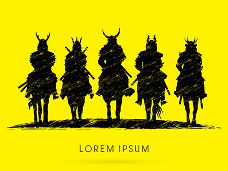 guerrero samurai: Silhouette, Samurai Warrior riding horse, designed using grunge brush graphic vector. Vectores