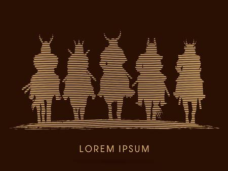 guerrero samurai: Silhouette, Samurai Warrior riding horse, designed using line wave graphic vector.