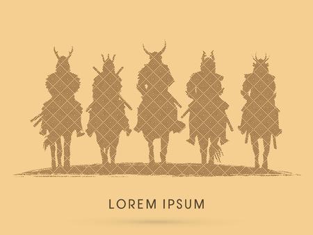 guerrero samurai: Silhouette, Samurai Warrior riding horse, designed using line square pattern graphic vector. Vectores
