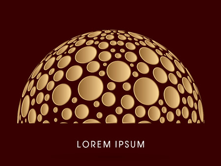 Abstract Building, dome, designed using gold dots graphic vector