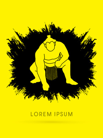 destroying the competition: Sumo designed on grunge background graphic vector.