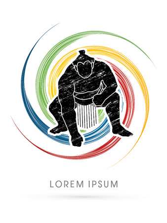 spin: Sumo designed using grunge brush on colorful spin background graphic vector.
