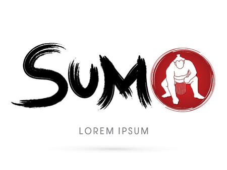 sumo: Text Sumo with Sumo silhouette graphic vector.