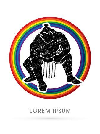 combative: Sumo designed using grunge brush on rainbows background graphic vector.