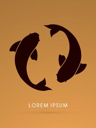 logo poisson: 2 poissons, double, legende graphique vectoriel.