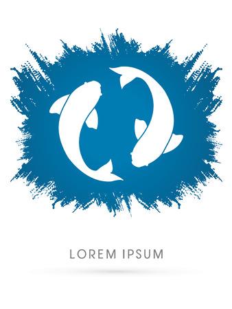 logo poisson: 2 poissons, jumeau, conçu sur la brosse grunge vecteur de fond graphique. Illustration