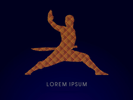 ready logos: Kung fu, Shaolin warriors monk with sword designed using gold square pattern graphic vector. Illustration