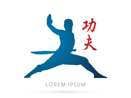 kung: Kung fu, Shaolin warriors monk with sword graphic vector. Illustration