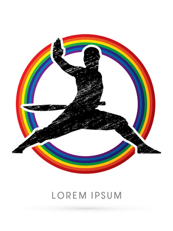 ready logos: Kung fu, Shaolin warriors monk with sword designed using grunge brush on rainbows background graphic vector.
