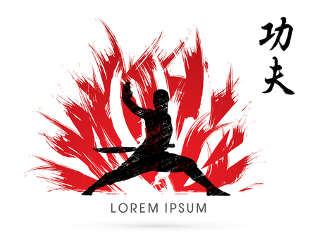 Kung fu, Shaolin warriors monk with sword on fire brush graphic vector.