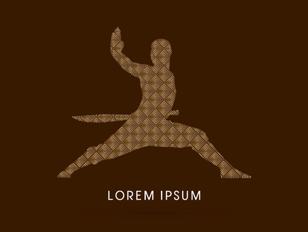 ready logos: Kung fu, Shaolin warriors monk with sword designed using luxury gold square pattern graphic vector.