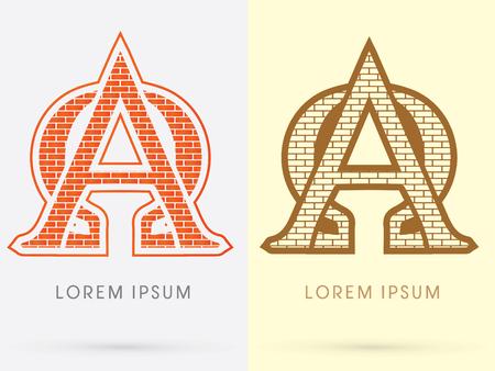 alpha: Alpha and omega, Brick, Construction font graphic design.
