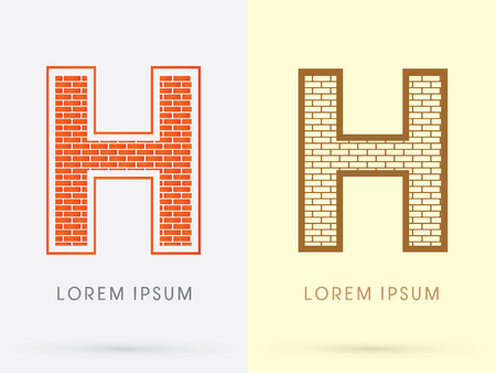 H, Brick, Construction font graphic design.