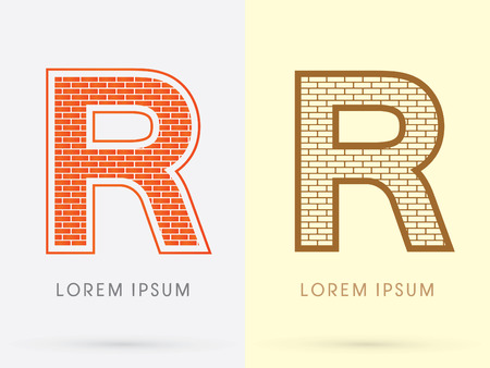 R, Brick, Construction font graphic design. Stock fotó - 47863799